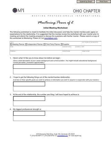 Power of Two© Initial Meeting Worksheet