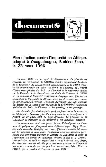 Plan d'action contre l'impunité en Afrique ... - Politique Africaine