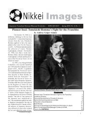 Volume 8 No. 1 (PDF) - Nikkei National Museum & Cultural Centre