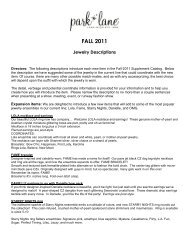 fall 2011 supplement catalog - Park Lane Jewelry