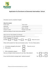 Application Form - Otumoetai Intermediate School