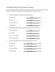 Stoichiometry Problem Exercise for Chemistry Laboratory Do not ...