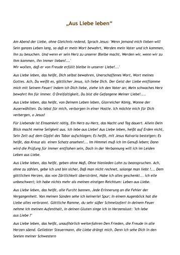 """""""Aus Liebe leben"""""""