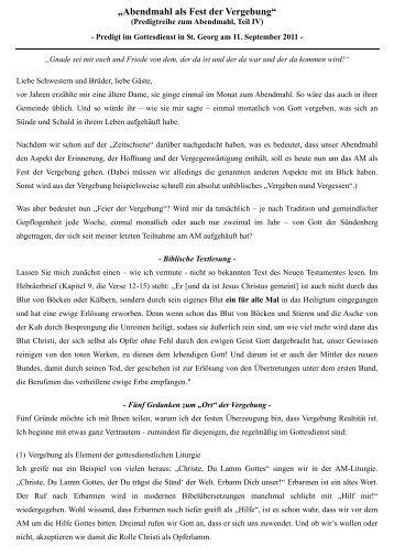 11.09.2011 Abendmahlsreihe, Teil 4 Fest der Vergebung
