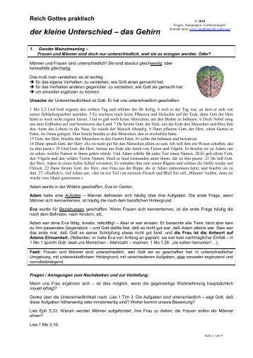 der kleine Unterschied – das Gehirn - equipping-the-saints.net