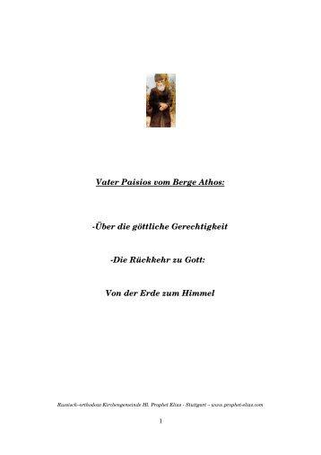 Vater Paisios vom Berge Athos: Über die göttliche ... - Jimdo
