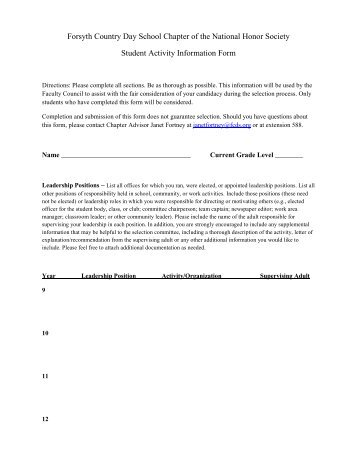 Service Hour Form - Forsyth Country Day School