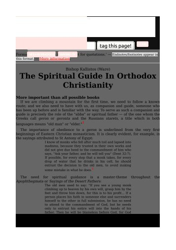 The Spiritual Guide In Orthodox Christianity