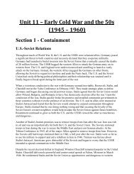 Unit 11 – Early Cold War and the 50s - Forsyth Country Day School