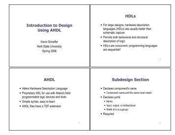 Introduction to Design Using AHDL HDLs  AHDL Subdesign Section
