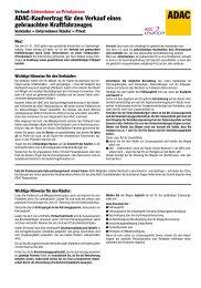 ADAC-Kaufvertrag für den Verkauf eines gebrauchten Kraftfahrzeuges