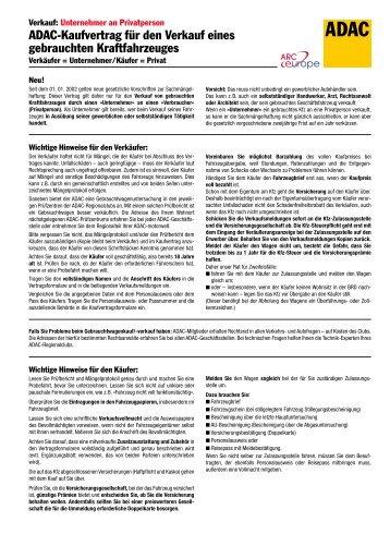 Auto Kaufvertrag Exemplar Für Verkäufer
