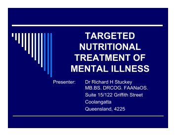 targeted nutritional treatment of mental illness - Bio-Balance Health
