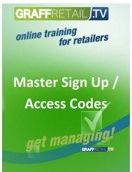 Master Sign Up / Access Codes