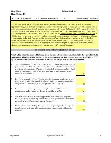 INCOME CALCULATION WORKSHEET - PMI Mortgage Insurance