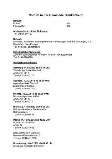 Notrufe und wichtige Nummern in der Gemeinde Blankenheim