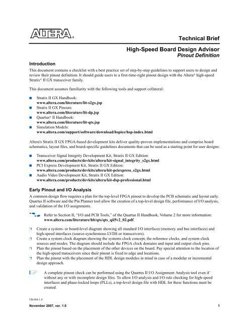 High-Speed Board Design Advisor: Pinout Definition - Altera