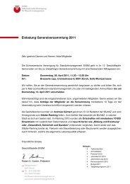 Einladung Generalversammlung 2011 - SVSM - Schweizerische ...