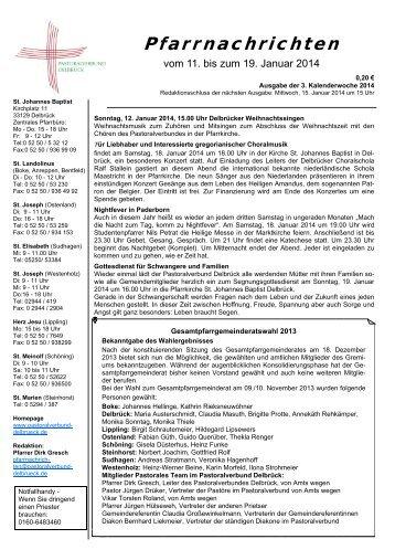 Sonntag, 12.01.2014 - pastoralverbund-delbrueck.de