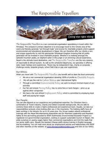 Mera Peak Trip Notes - The Responsible Travellers
