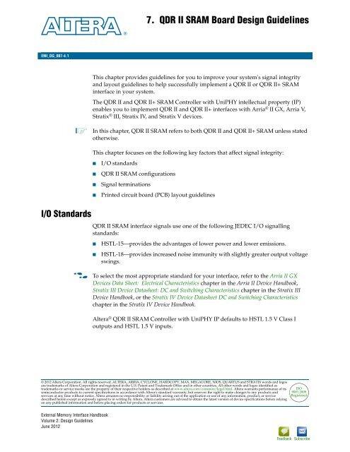 QDR II SRAM Board Design Guidelines - Altera