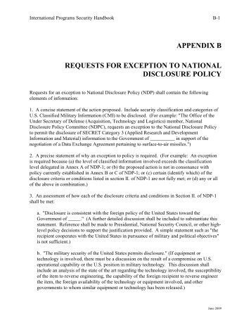Appendix B - Requests for Exception to the NDP - Avanco ...