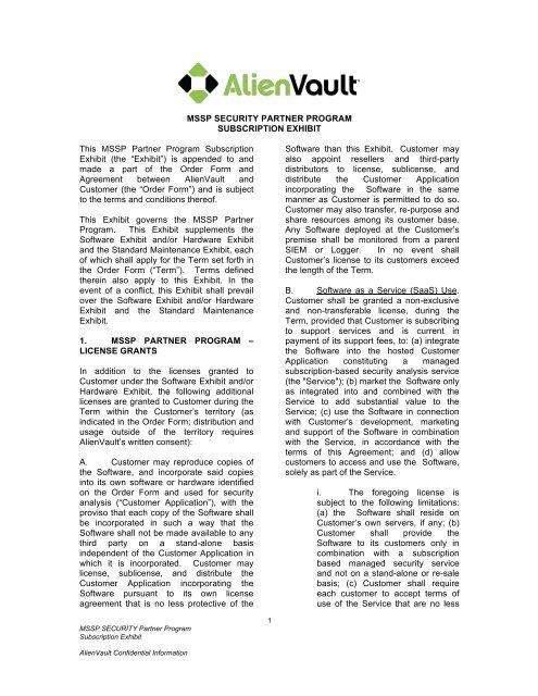 MSSP SECURITY PARTNER PROGRAM     - AlienVault