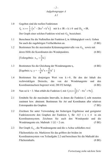 - 2 - Aufgabengruppe A A I 1.0 Gegeben sind die reellen ... - Serlo