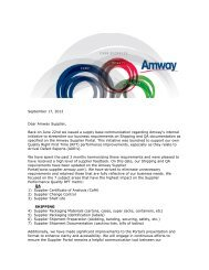 2012 Update Letter - Supplier Portal - Amway