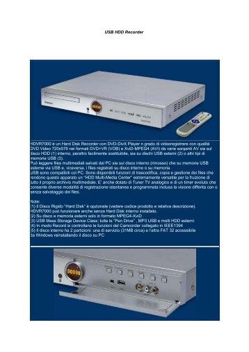 """USB HDD Recorder Video Recorder con Hard Disk 3.5"""" removibile ..."""