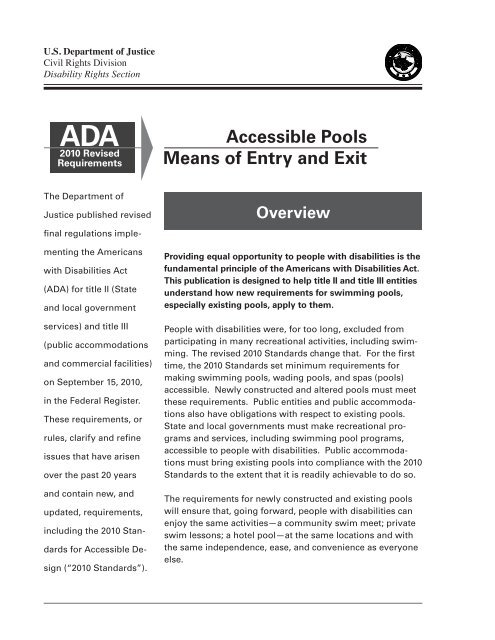 Accessible Pools -- Means of Entry and Exit - ADA.gov