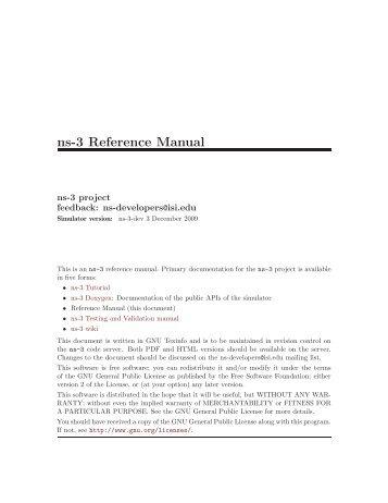 ns-3 Reference Manual - panthema.net