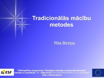 Tradicionālās mācību metodes - Mājas lapa