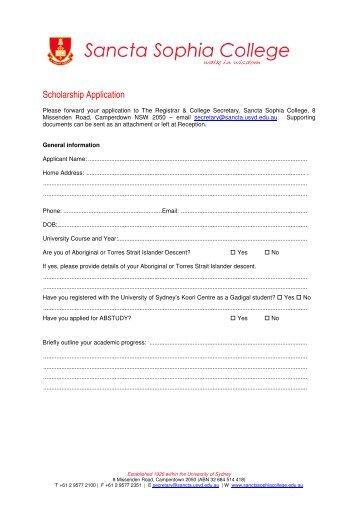 Scholarship Application General - Sancta Sophia College