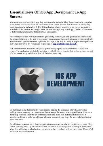 Essential Keys Of iOS App Development To App Success