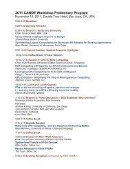 2011 CANDE Workshop Preliminary Program
