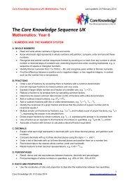 Core Knowledge Sequence UK: Mathematics, Year 6