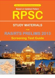 Notes for RPSC Prelims Examination 2013 Study Matter