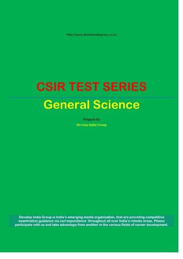 CSIR TEST SERIES General Science - Developindiagroup.co.in
