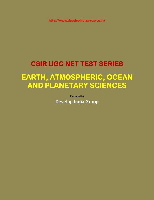 CSIR TEST SERIES Schedule for Earth Sciences pdf
