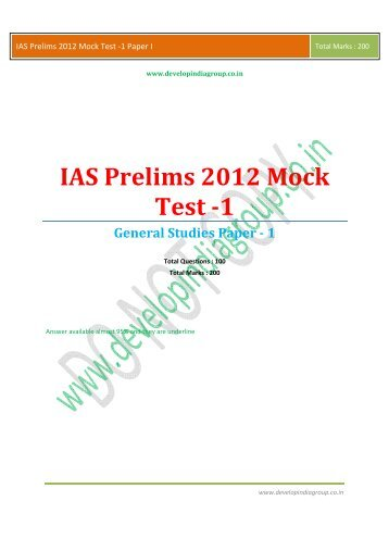 IAS Prelims 2012 Mock Test 1 Paper I.pdf - Developindiagroup.co.in