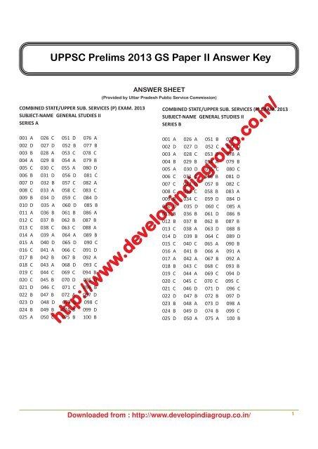UPPSC PCS Pre Exam 2013 Paper 2 CSAT Answer key