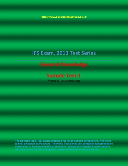General Knowledge Test Series Sample pdf - developindiagroup co in
