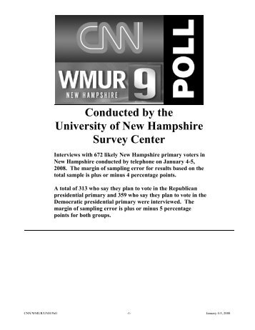 Conducted by the University of New Hampshire Survey ... - CNN.com