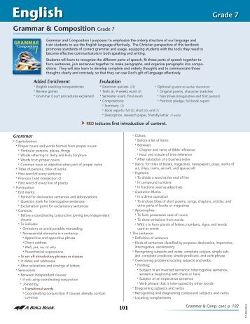 ABB Scope and Sequence 2012-Secondary English - A Beka Book