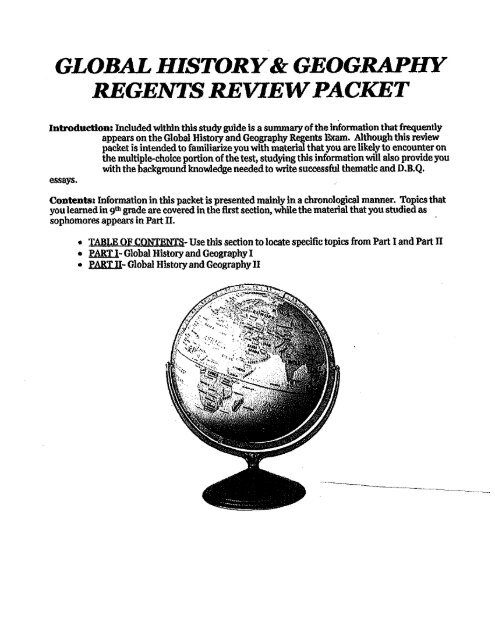 GLOBAL HISTORY& GEOGRAPHY REGENTS REVIEW PACKET