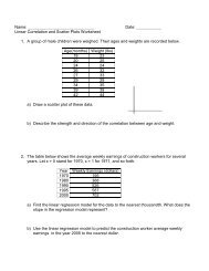 Linear Regression and Correlation worksheet