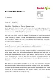 07.02.2012 Udvidelse af direktionen i Danish Agro - DLA Agro