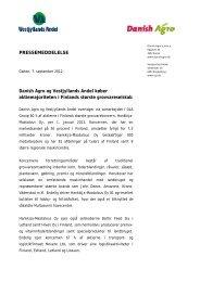 PRESSEMEDDELELSE Danish Agro og Vestjyllands ... - DLA Agro