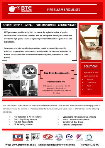 fire alarm specialists design supply install ... - BTE Systems